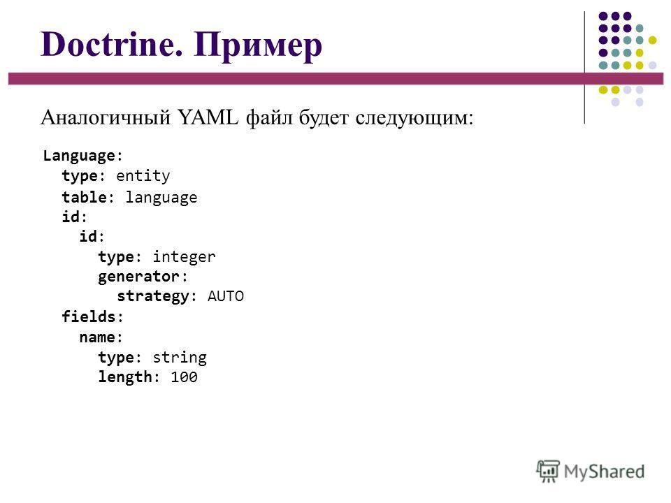 Doctrine. Пример Аналогичный YAML файл будет следующим: Language: type: entity table: language id: type: integer generator: strategy: AUTO fields: name: type: string length: 100