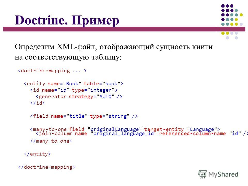 Doctrine. Пример Определим XML-файл, отображающий сущность книги на соответствующую таблицу: