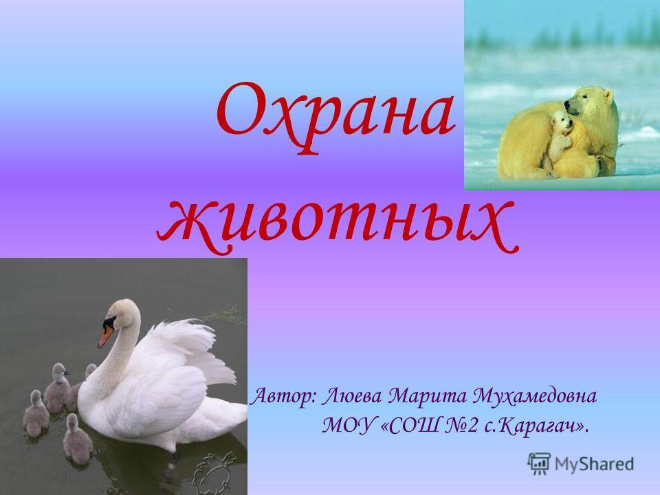 Охрана животных Автор: Люева Марита Мухамедовна МОУ «СОШ 2 с.Карагач».