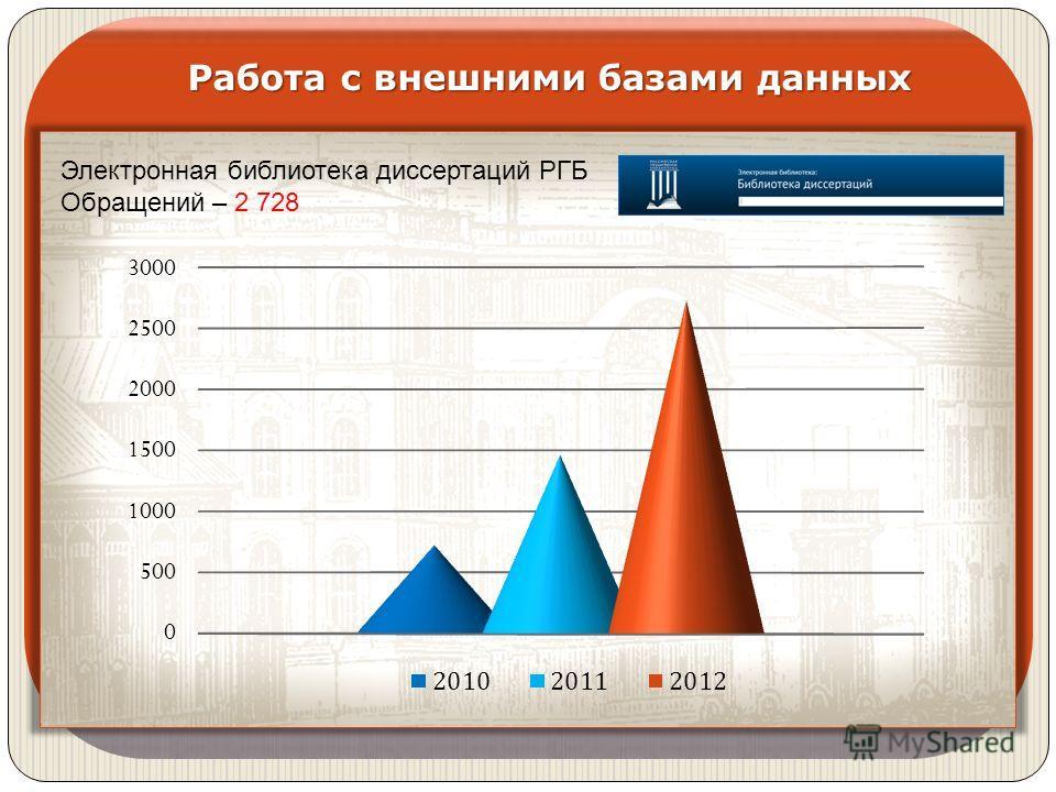 Электронная библиотека диссертаций РГБ Обращений – 2 728