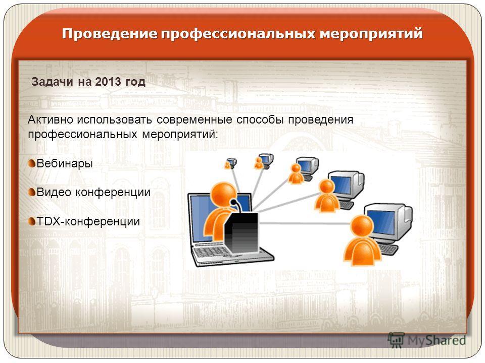 Проведение профессиональных мероприятий Задачи на 2013 год Активно использовать современные способы проведения профессиональных мероприятий: Вебинары Видео конференции TDX-конференции