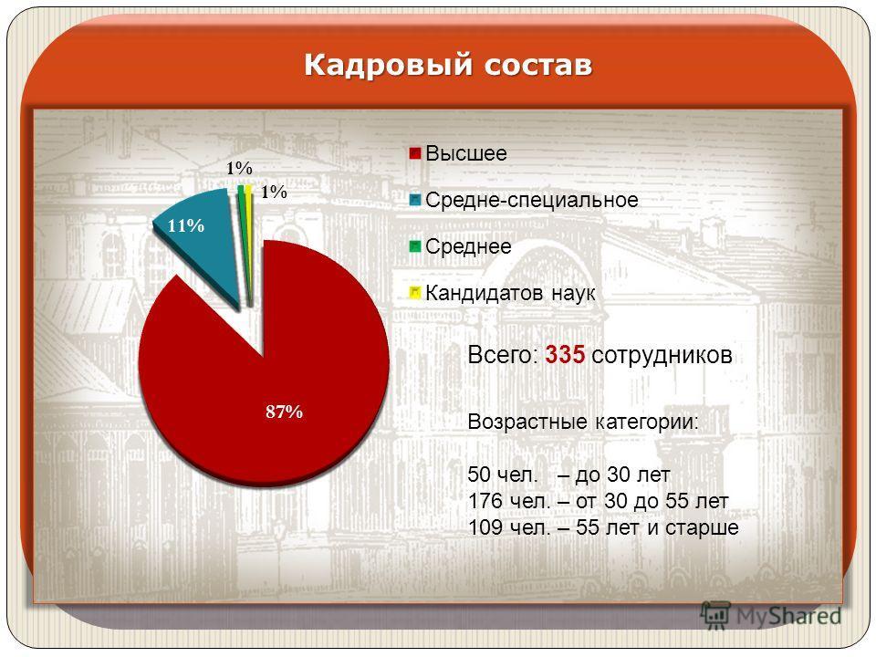 Кадровый состав Всего: 335 сотрудников Возрастные категории: 50 чел. – до 30 лет 176 чел. – от 30 до 55 лет 109 чел. – 55 лет и старше