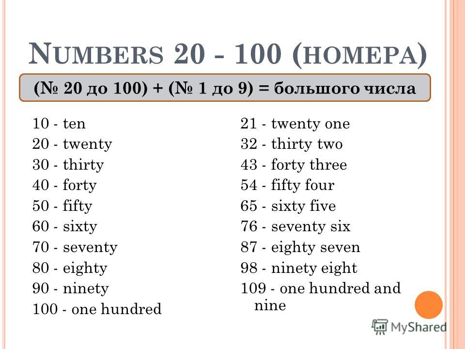 N UMBERS 20 - 100 ( НОМЕРА ) 10 - ten 20 - twenty 30 - thirty 40 - forty 50 - fifty 60 - sixty 70 - seventy 80 - eighty 90 - ninety 100 - one hundred 21 - twenty one 32 - thirty two 43 - forty three 54 - fifty four 65 - sixty five 76 - seventy six 87