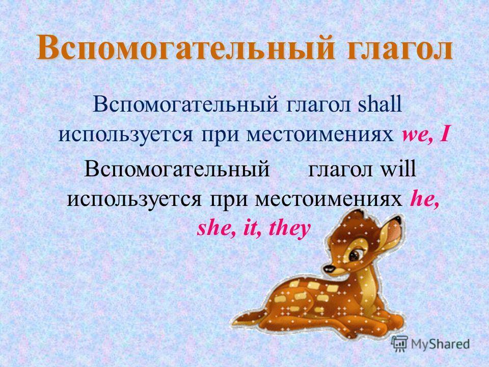 Вспомогательный глагол Вспомогательный глагол shall используется при местоимениях we, I Вспомогательный глагол will используется при местоимениях he, she, it, they