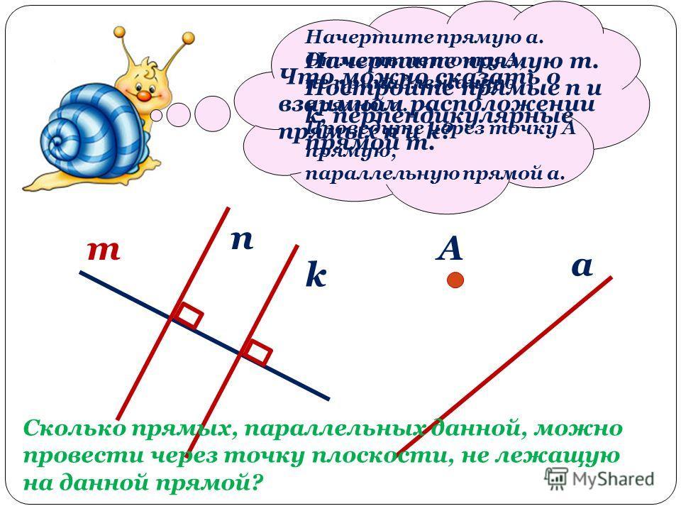 Начертите прямую m. Постройте прямые n и k, перпендикулярные прямой m. m n k Что можно сказать о взаимном расположении прямых n и k? Начертите прямую a. Отметьте точку А, не принадлежащую прямой a. Проведите через точку А прямую, параллельную прямой