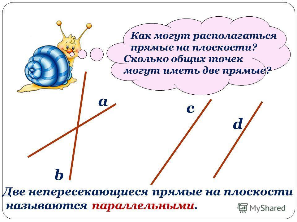 Проведите две прямые так, чтобы у них было разное взаимное расположение на плоскости. a b c d Как могут располагаться прямые на плоскости? Сколько общих точек могут иметь две прямые? Две непересекающиеся прямые на плоскости называются параллельными.