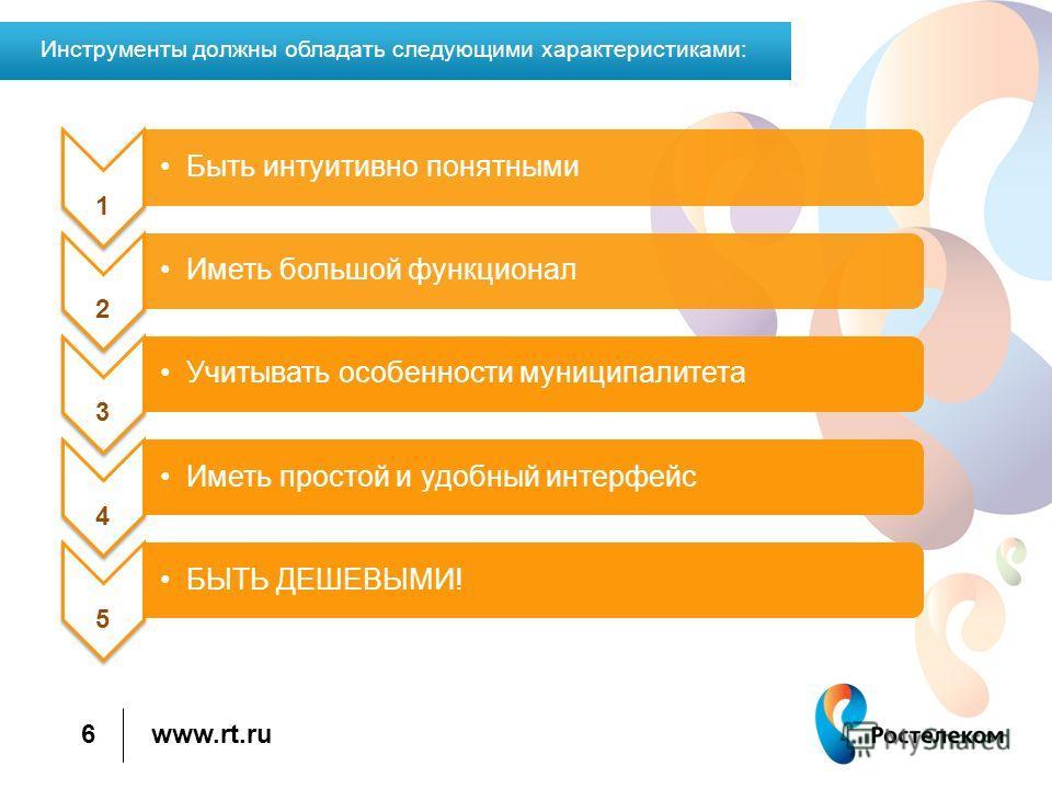 www.rt.ru 6 Инструменты должны обладать следующими характеристиками: 1 Быть интуитивно понятными 2 Иметь большой функционал 3 Учитывать особенности муниципалитета 4 Иметь простой и удобный интерфейс 5 БЫТЬ ДЕШЕВЫМИ!