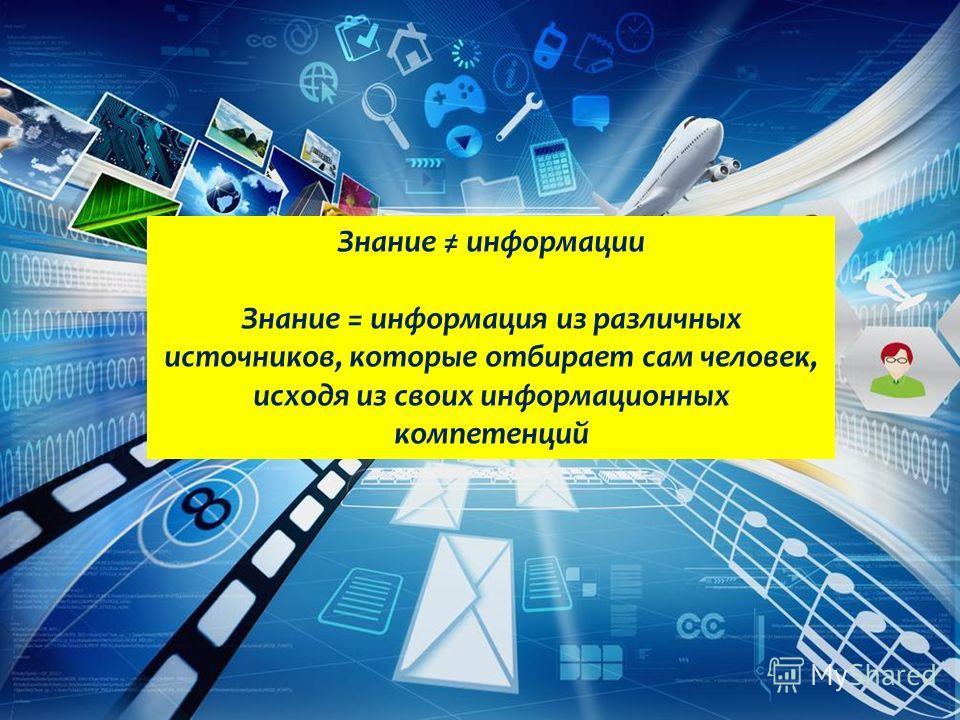 Знание информации Знание = информация из различных источников, которые отбирает сам человек, исходя из своих информационных компетенций