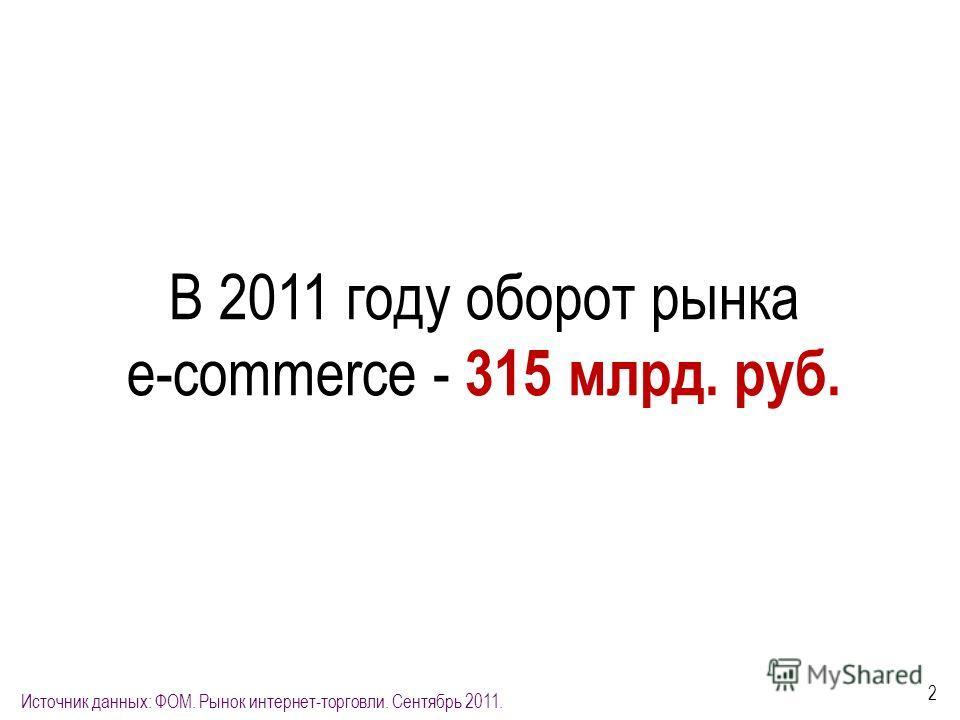 2 В 2011 году оборот рынка e-commerce - 315 млрд. руб. Источник данных: ФОМ. Рынок интернет-торговли. Сентябрь 2011.