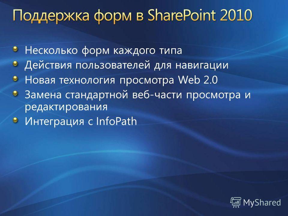 Несколько форм каждого типа Действия пользователей для навигации Новая технология просмотра Web 2.0 Замена стандартной веб-части просмотра и редактирования Интеграция с InfoPath