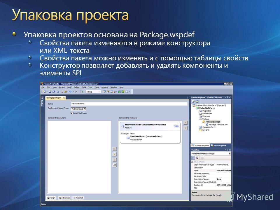 Упаковка проектов основана на Package.wspdef Свойства пакета изменяются в режиме конструктора или XML-текста Свойства пакета можно изменять и с помощью таблицы свойств Конструктор позволяет добавлять и удалять компоненты и элементы SPI