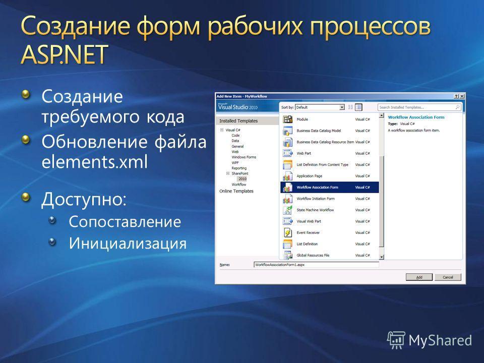 Создание требуемого кода Обновление файла elements.xml Доступно: Сопоставление Инициализация
