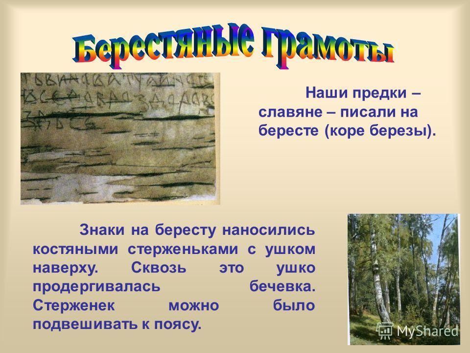 Наши предки – славяне – писали на бересте (коре березы). Знаки на бересту наносились костяными стерженьками с ушком наверху. Сквозь это ушко продергивалась бечевка. Стерженек можно было подвешивать к поясу.