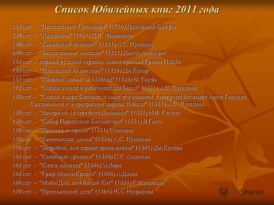Список Юбилейных книг 2011 года 285 лет -