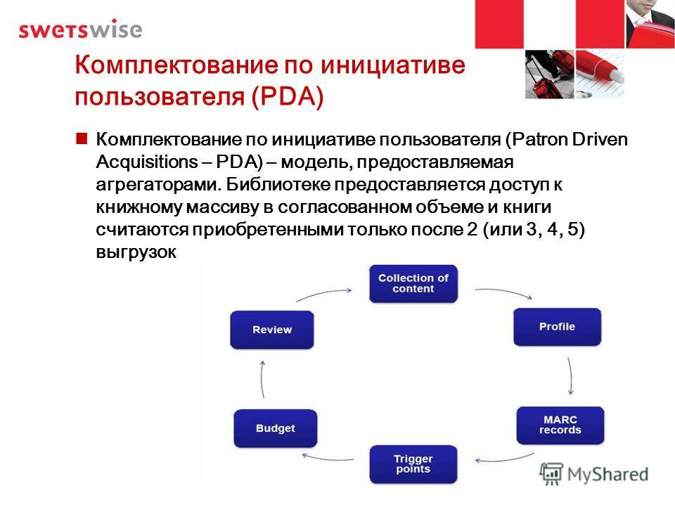 Комплектование по инициативе пользователя (PDA) Комплектование по инициативе пользователя (Patron Driven Acquisitions – PDA) – модель, предоставляемая агрегаторами. Библиотеке предоставляется доступ к книжному массиву в согласованном объеме и книги с
