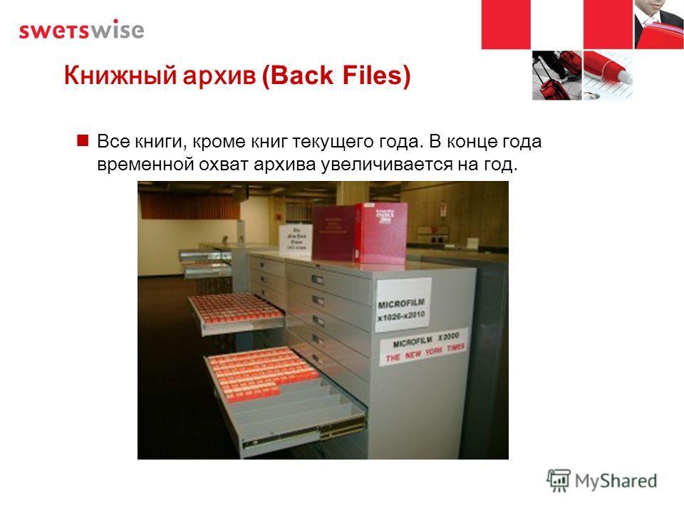 Книжный архив (Back Files) Все книги, кроме книг текущего года. В конце года временной охват архива увеличивается на год.
