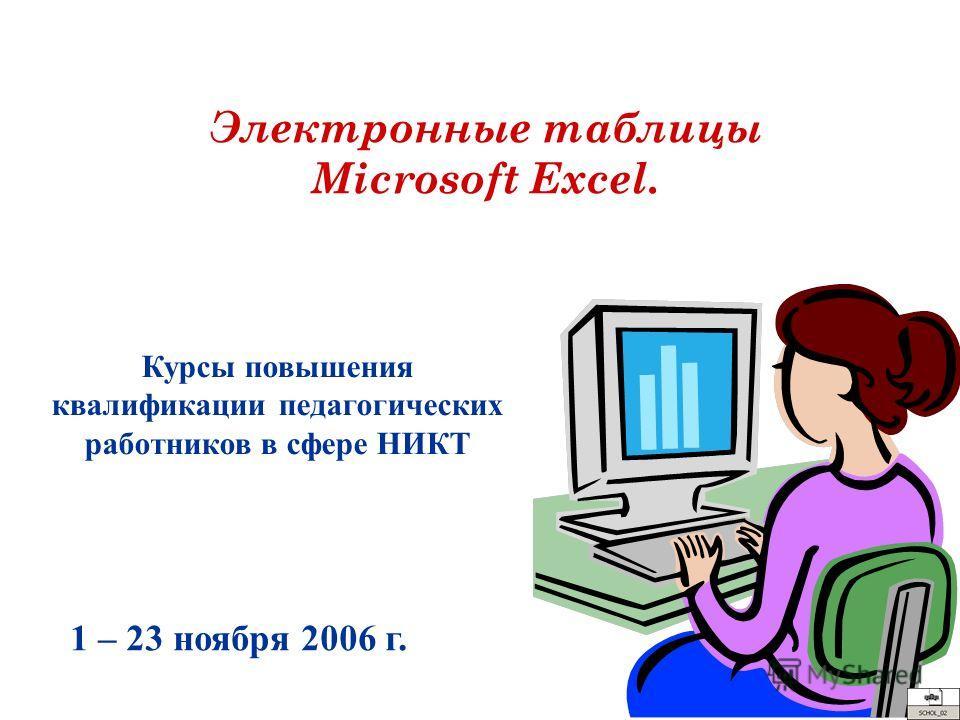 Электронные таблицы Microsoft Excel. Курсы повышения квалификации педагогических работников в сфере НИКТ 1 – 23 ноября 2006 г.