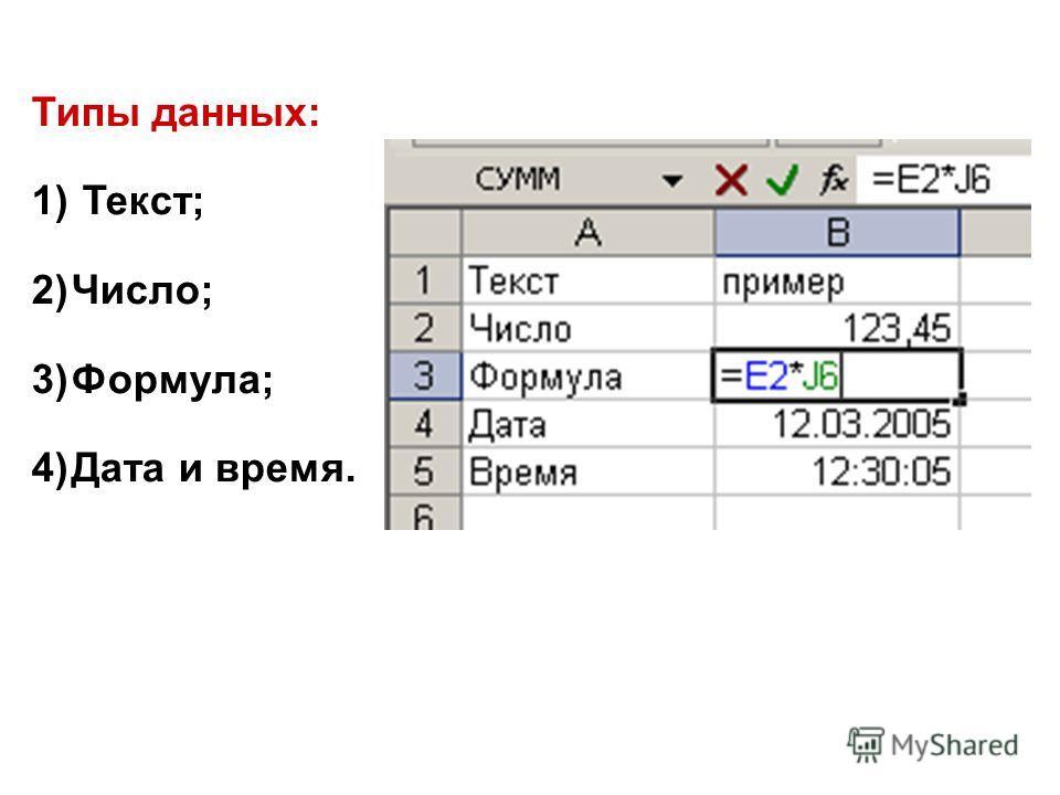 Типы данных: 1) Текст; 2)Число; 3)Формула; 4)Дата и время.