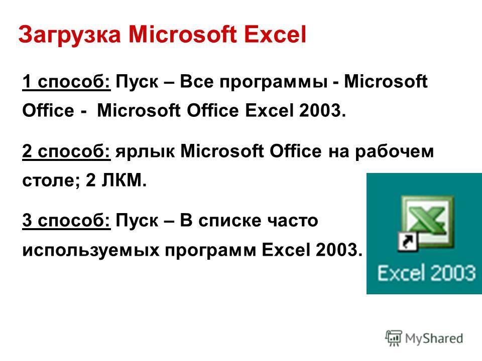 Загрузка Microsoft Excel 1 способ: Пуск – Все программы - Microsoft Office - Microsoft Office Excel 2003. 2 способ: ярлык Microsoft Office на рабочем столе; 2 ЛКМ. 3 способ: Пуск – В списке часто используемых программ Excel 2003.