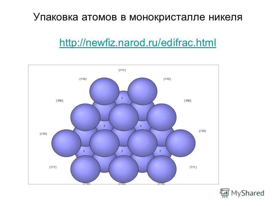 Упаковка атомов в монокристалле никеля http://newfiz.narod.ru/edifrac.html http://newfiz.narod.ru/edifrac.html