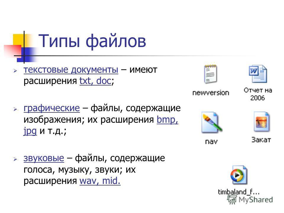 Типы файлов текстовые документы – имеют расширения txt, doc; графические – файлы, содержащие изображения; их расширения bmp, jpg и т.д.; звуковые – файлы, содержащие голоса, музыку, звуки; их расширения wav, mid.