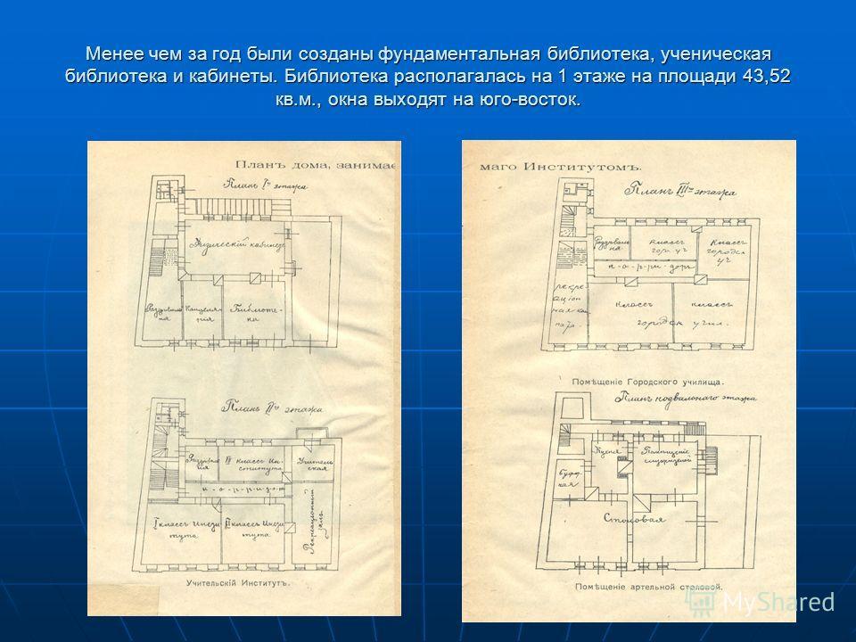 Менее чем за год были созданы фундаментальная библиотека, ученическая библиотека и кабинеты. Библиотека располагалась на 1 этаже на площади 43,52 кв.м., окна выходят на юго-восток.