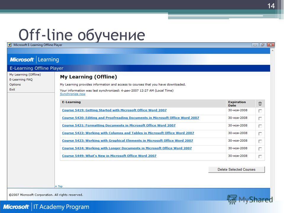 Off-line обучение 14