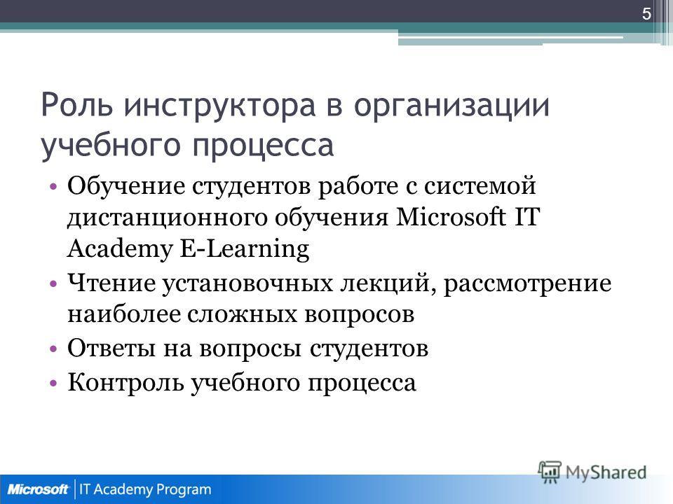 Роль инструктора в организации учебного процесса Обучение студентов работе с системой дистанционного обучения Microsoft IT Academy E-Learning Чтение установочных лекций, рассмотрение наиболее сложных вопросов Ответы на вопросы студентов Контроль учеб