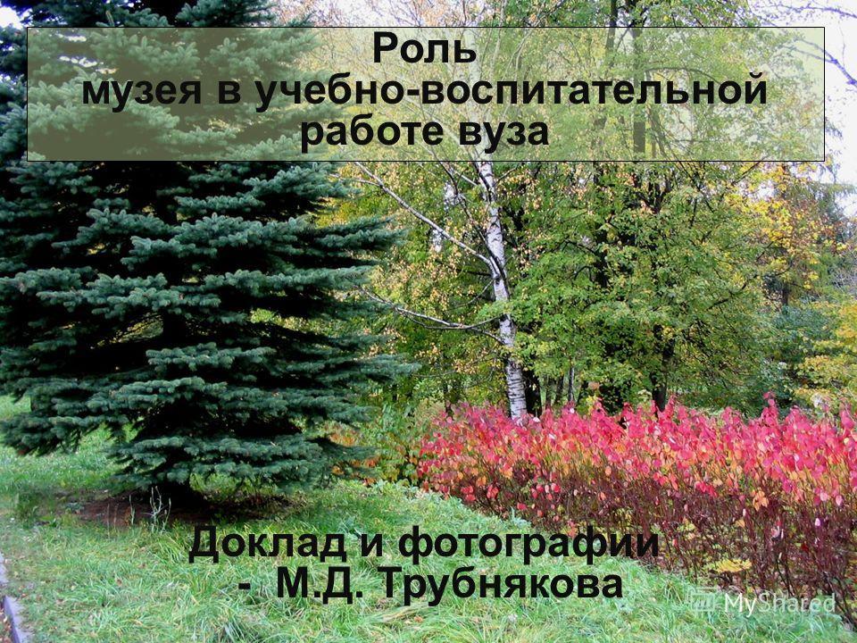 Роль музея в учебно-воспитательной работе вуза Доклад и фотографии - М.Д. Трубнякова