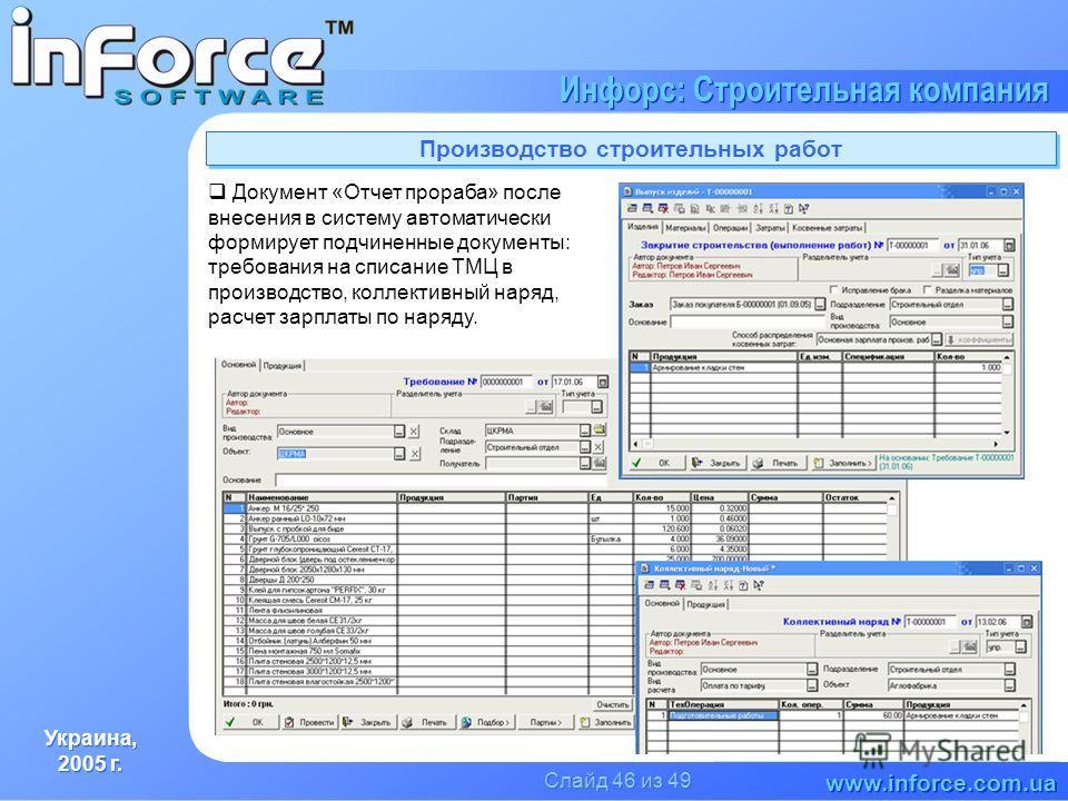 Украина, 2005 г. Украина, 2005 г. www.inforce.com.ua Инфорс: Строительная компания Слайд 46 из 49 Производство строительных работ Документ «Отчет прораба» после внесения в систему автоматически формирует подчиненные документы: требования на списание