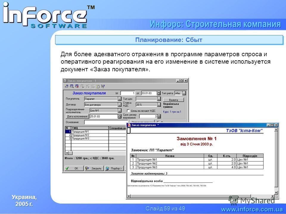 Украина, 2005 г. Украина, 2005 г. www.inforce.com.ua Инфорс: Строительная компания Слайд 59 из 49 Планирование: Сбыт Для более адекватного отражения в программе параметров спроса и оперативного реагирования на его изменение в системе используется док
