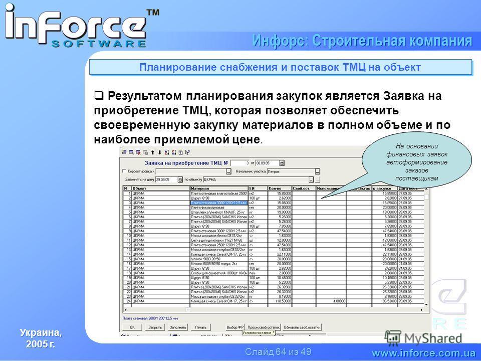Украина, 2005 г. Украина, 2005 г. www.inforce.com.ua Инфорс: Строительная компания Слайд 64 из 49 Планирование снабжения и поставок ТМЦ на объект Результатом планирования закупок является Заявка на приобретение ТМЦ, которая позволяет обеспечить своев