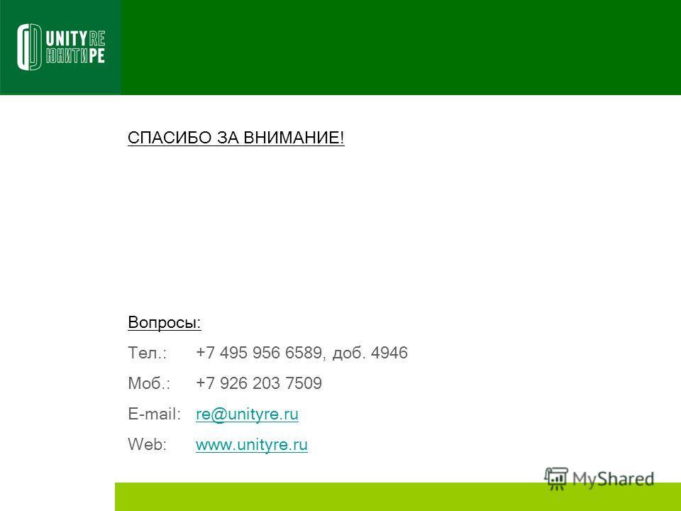 СПАСИБО ЗА ВНИМАНИЕ! Вопросы: Тел.: +7 495 956 6589, доб. 4946 Моб.:+7 926 203 7509 E-mail:re@unityre.rure@unityre.ru Web:www.unityre.ruwww.unityre.ru
