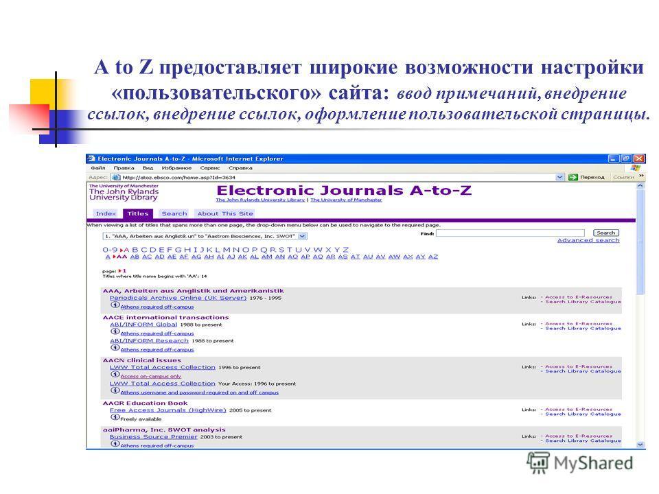 A to Z предоставляет широкие возможности настройки «пользовательского» сайта: ввод примечаний, внедрение ссылок, внедрение ссылок, оформление пользовательской страницы.