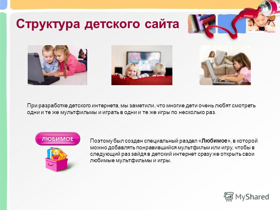 Структура детского сайта Поэтому был создан специальный раздел «Любимое», в которой можно добавлять понравившийся мультфильм или игру, чтобы в следующий раз зайдя в детский интернет сразу же открыть свои любимые мультфильмы и игры. При разработке дет