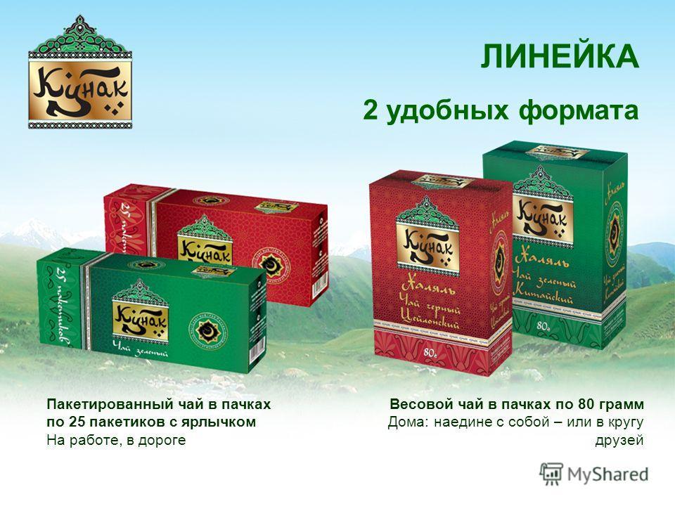 ЛИНЕЙКА 2 удобных формата Весовой чай в пачках по 80 грамм Дома: наедине с собой – или в кругу друзей Пакетированный чай в пачках по 25 пакетиков с ярлычком На работе, в дороге