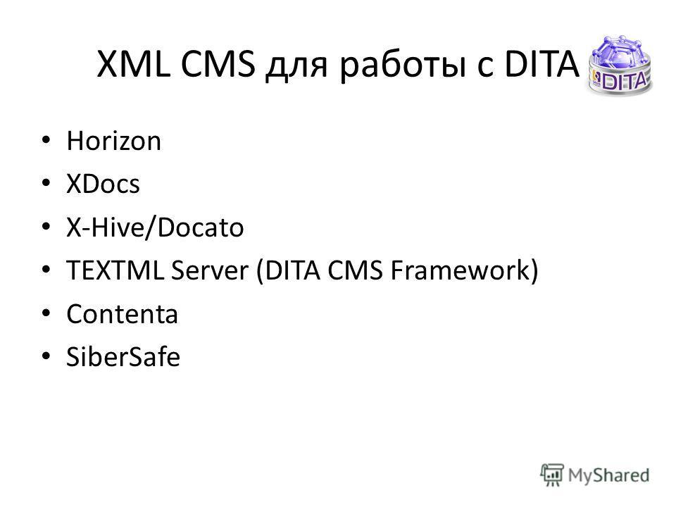 XML CMS для работы с DITA Horizon XDocs X-Hive/Docato TEXTML Server (DITA CMS Framework) Contenta SiberSafe