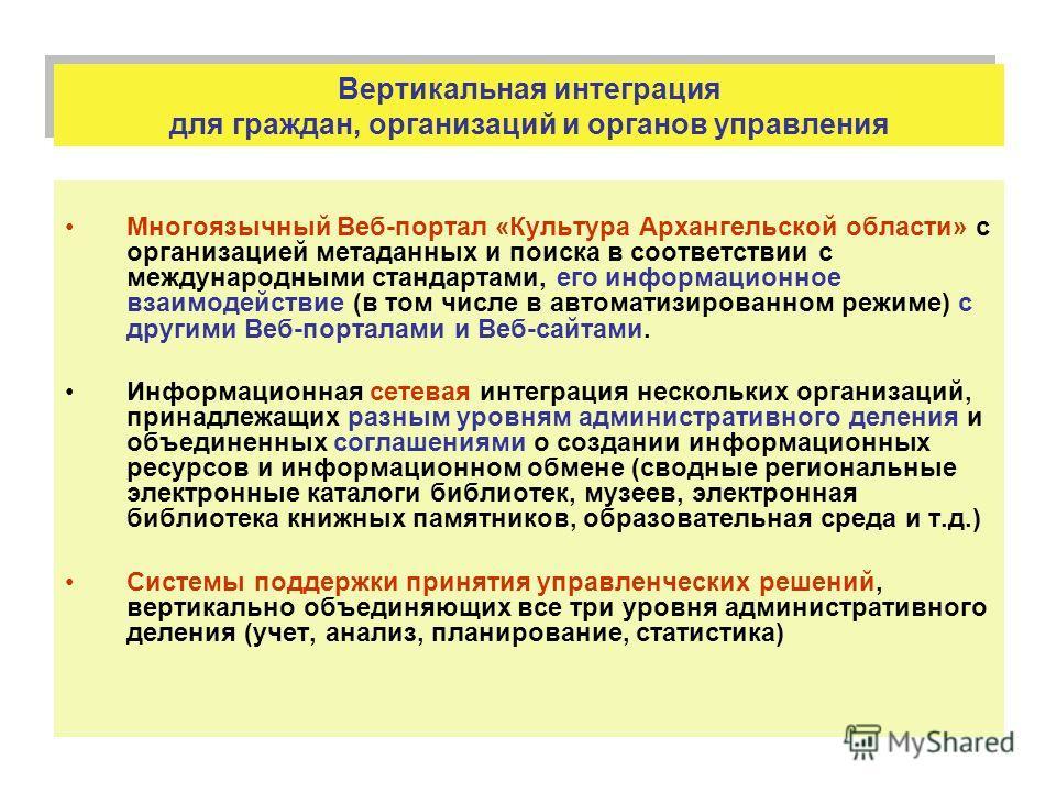 Вертикальная интеграция для граждан, организаций и органов управления Многоязычный Веб-портал «Культура Архангельской области» с организацией метаданных и поиска в соответствии с международными стандартами, его информационное взаимодействие (в том чи