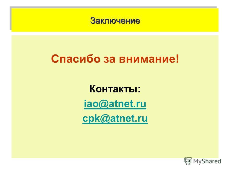 ЗаключениеЗаключение Спасибо за внимание! Контакты: iao@atnet.ru cpk@atnet.ru