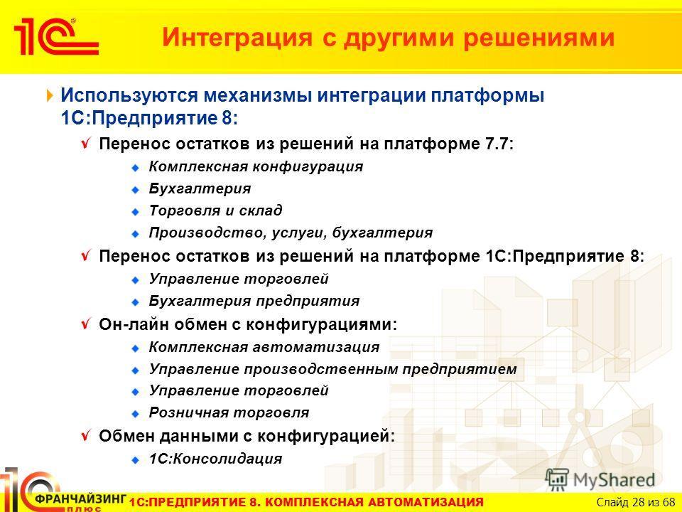 1C:ПРЕДПРИЯТИЕ 8. КОМПЛЕКСНАЯ АВТОМАТИЗАЦИЯ Слайд 28 из 68 Интеграция с другими решениями Используются механизмы интеграции платформы 1С:Предприятие 8: Перенос остатков из решений на платформе 7.7: Комплексная конфигурация Бухгалтерия Торговля и скла