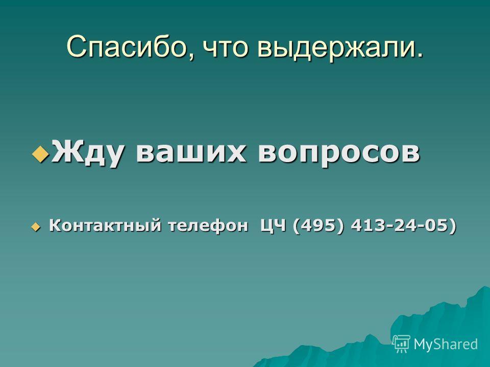 Спасибо, что выдержали. Жду ваших вопросов Жду ваших вопросов Контактный телефон ЦЧ (495) 413-24-05) Контактный телефон ЦЧ (495) 413-24-05)