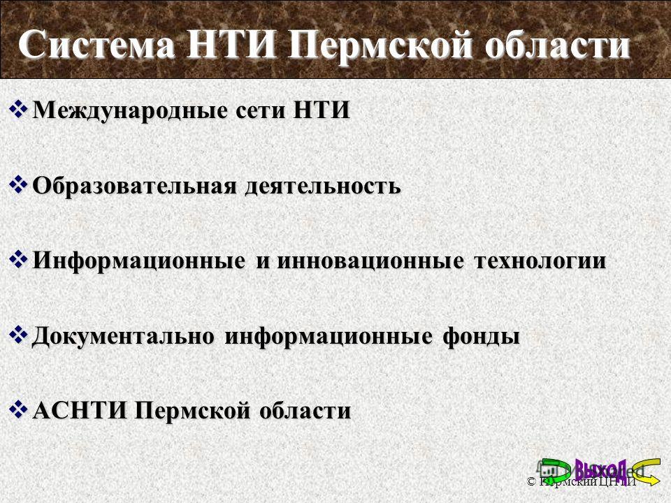 © Пермский ЦНТИ Система НТИ Пермской области
