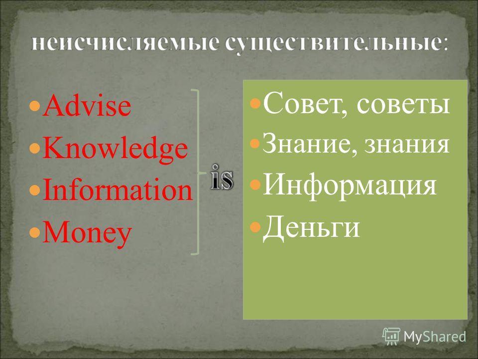 Advise Knowledge Information Money Совет, советы Знание, знания Информация Деньги