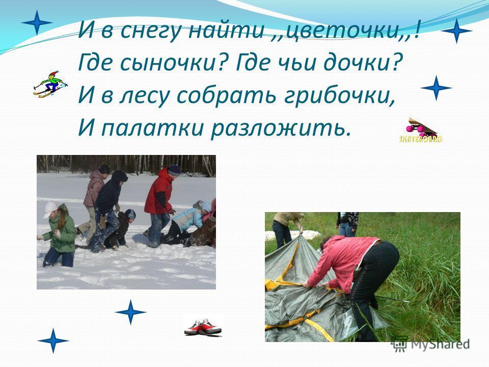 И в снегу найти,,цветочки,,! Где сыночки? Где чьи дочки? И в лесу собрать грибочки, И палатки разложить.