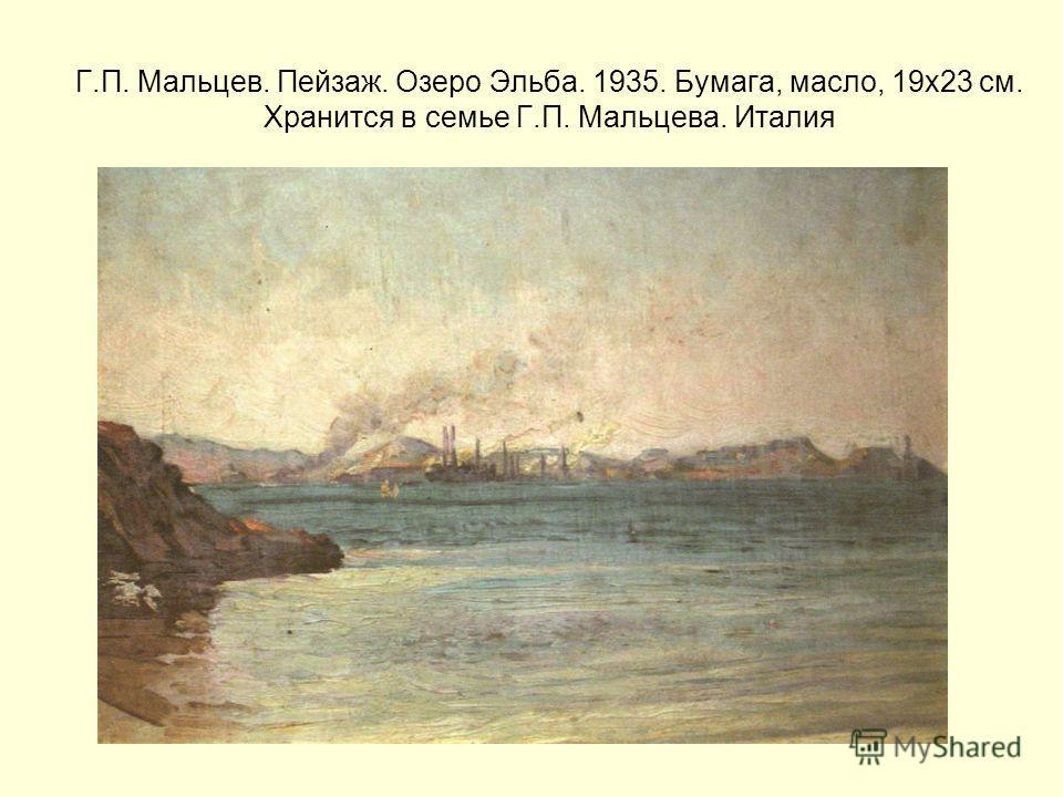 Г.П. Мальцев. Пейзаж. Озеро Эльба. 1935. Бумага, масло, 19х23 см. Хранится в семье Г.П. Мальцева. Италия