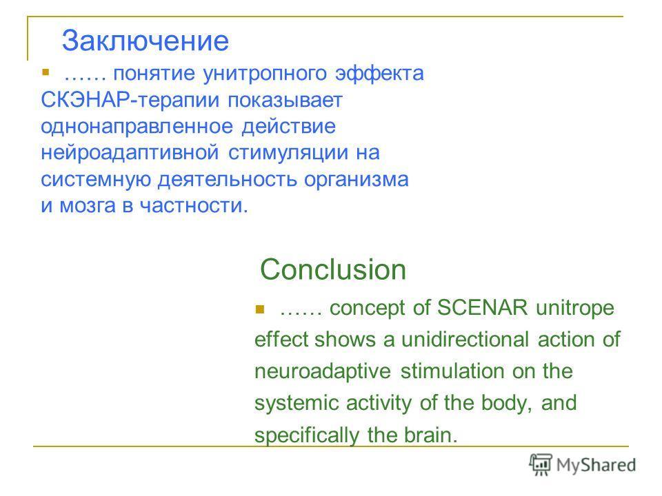 Заключение …… concept of SCENAR unitrope effect shows a unidirectional action of neuroadaptive stimulation on the systemic activity of the body, and specifically the brain. Conclusion …… понятие унитропного эффекта СКЭНАР-терапии показывает однонапра