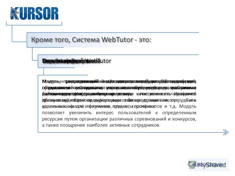 Кроме того, Система WebTutor - это: kursor.com.ru CourseLab Teamwork Модуль, предназначенный для коллективной разработки курсов, позволяющий создавать интерактивные учебные материалы, работая через Интернет-браузер. Тест-Эксперт Модуль, расширяющий в
