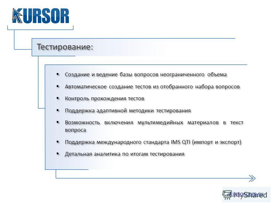 Тестирование: kursor.com.ru Создание и ведение базы вопросов неограниченного объема Автоматическое создание тестов из отобранного набора вопросов Контроль прохождения тестов Поддержка адаптивной методики тестирования Возможность включения мультимедий