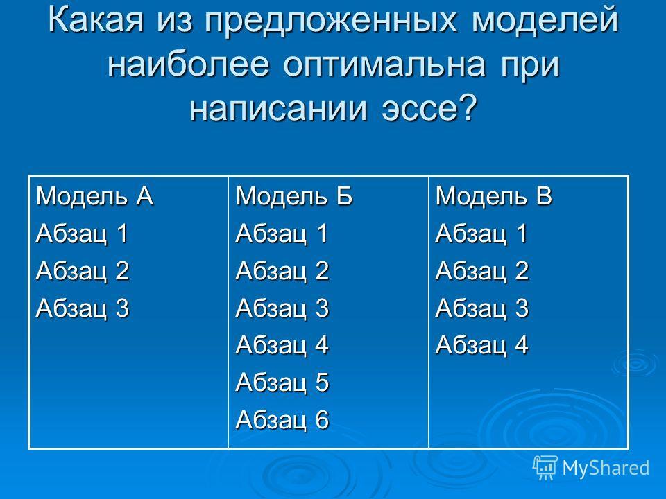 Какая из предложенных моделей наиболее оптимальна при написании эссе? Модель А Абзац 1 Абзац 2 Абзац 3 Модель Б Абзац 1 Абзац 2 Абзац 3 Абзац 4 Абзац 5 Абзац 6 Модель В Абзац 1 Абзац 2 Абзац 3 Абзац 4