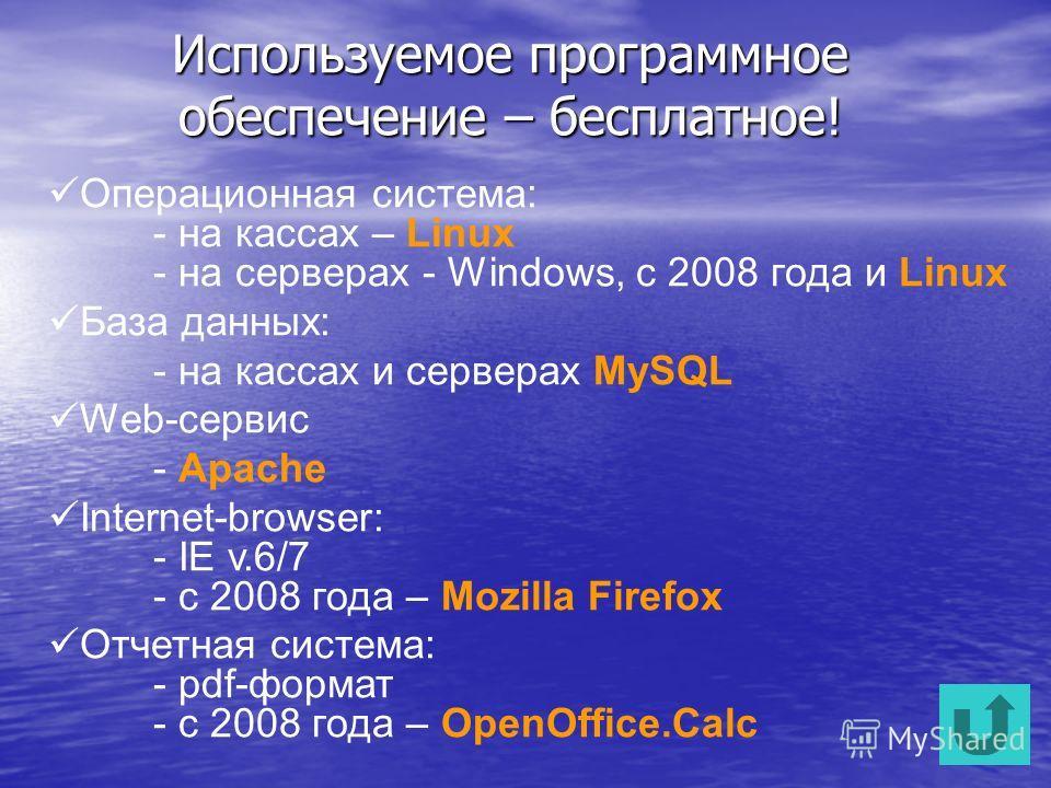 Используемое программное обеспечение – бесплатное! Операционная система: - на кассах – Linux - на серверах - Windows, с 2008 года и Linux База данных: - на кассах и серверах MySQL Web-сервис - Apache Internet-browser: - IE v.6/7 - с 2008 года – Mozil